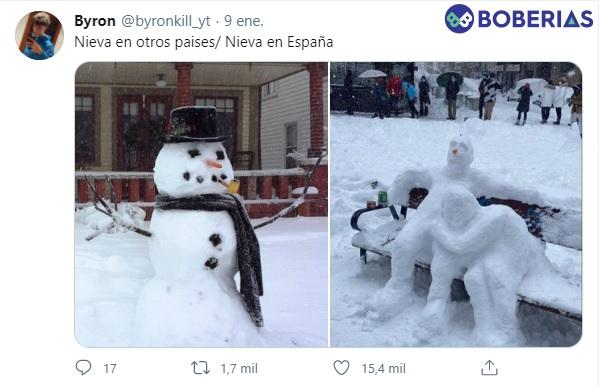 Cuando nieva en otros países / Cuando nieva en España