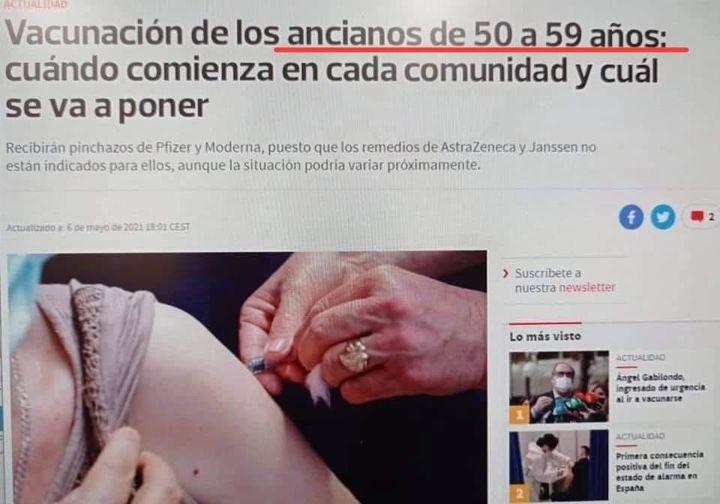 Una noticia llama ancianos a los de 50 años