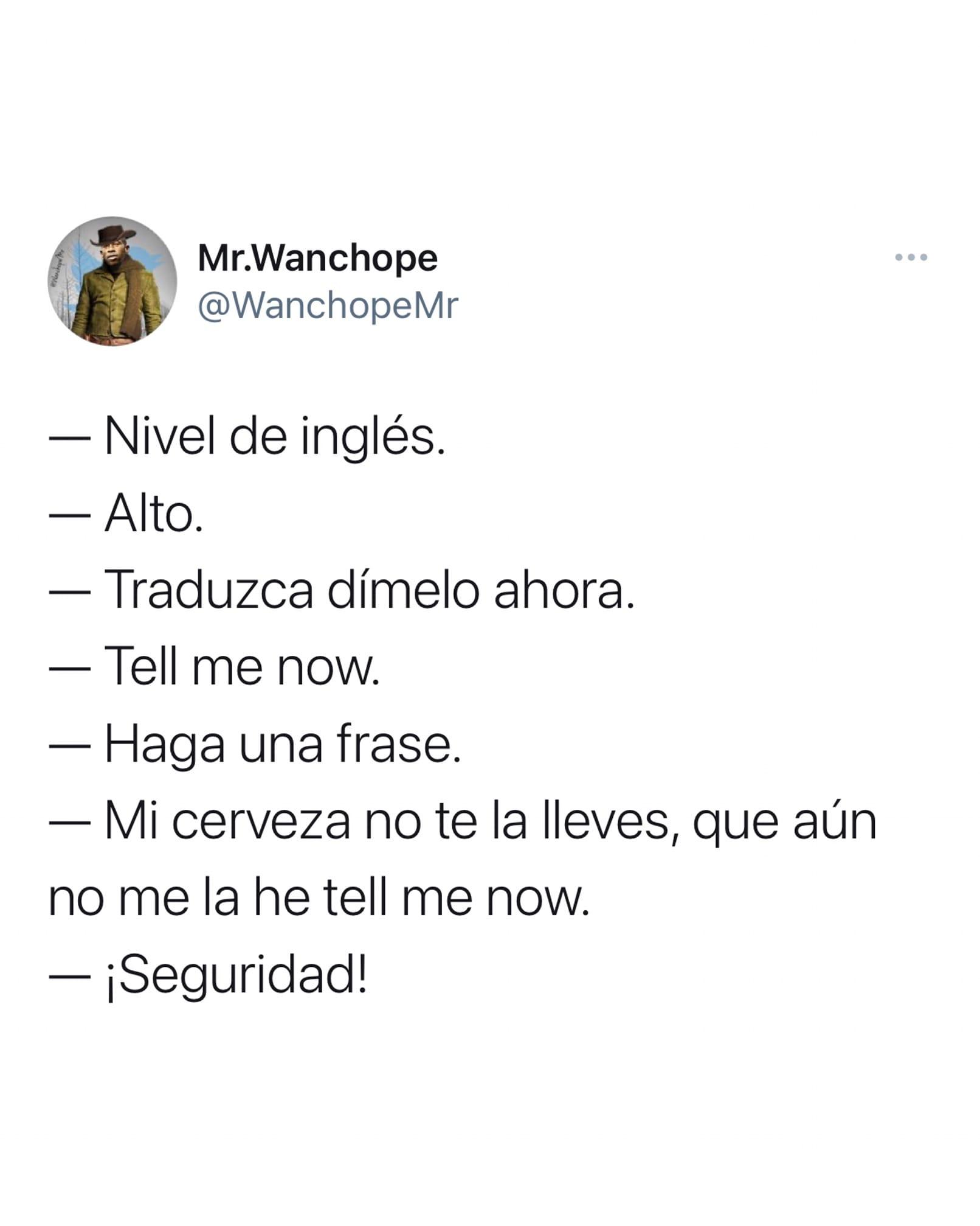 Chiste de nivel de inglés