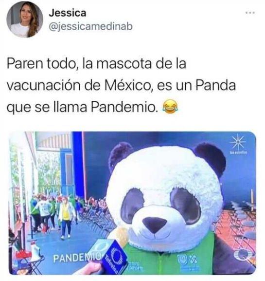 Mascota de vacunación llamada Pandemio